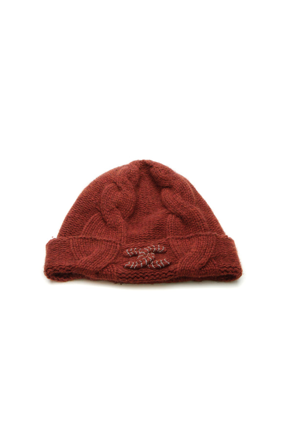 Chanel Cashmere Beanie Hat Burnt Orange