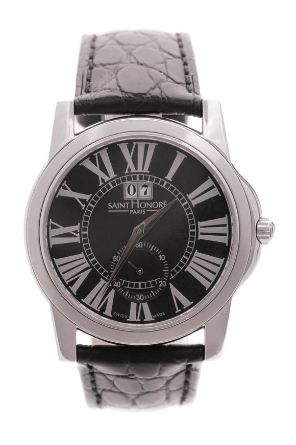 saint-honore-black-leather-stainless-steel-watch