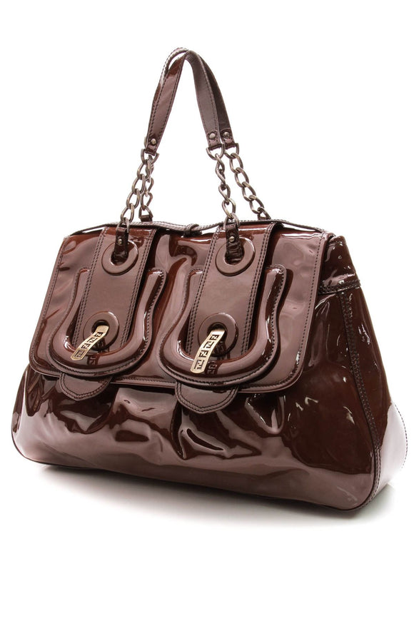 fendi-large-b-bag-brown-patent