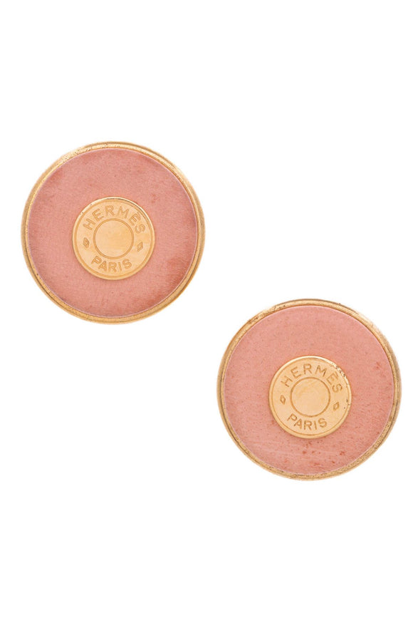 hermes-vintage-gold-tone-metal-pink-leather-sellier-clip-on-earrings