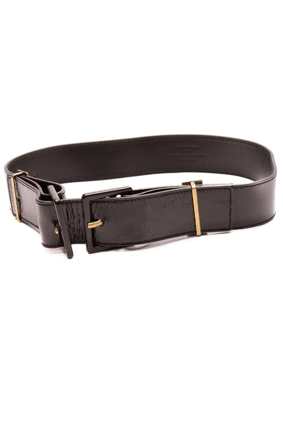 Yves Saint Laurent Double Buckle Belt Black Patent