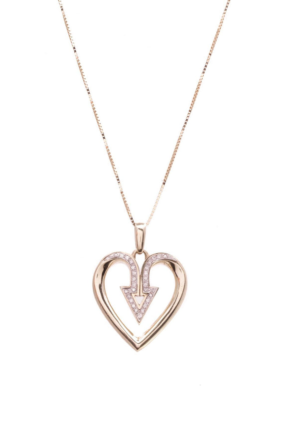 14k-yellow-gold-diamond-arrow-heart-pendant-necklace