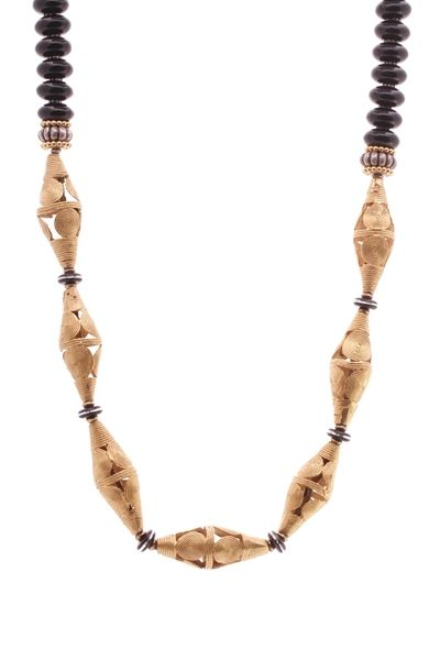 Cameroon Beaded Long Necklace - Black/Gold