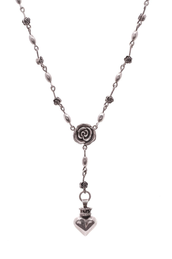 Queen Baby Roses Heart Rosary Necklace Silver