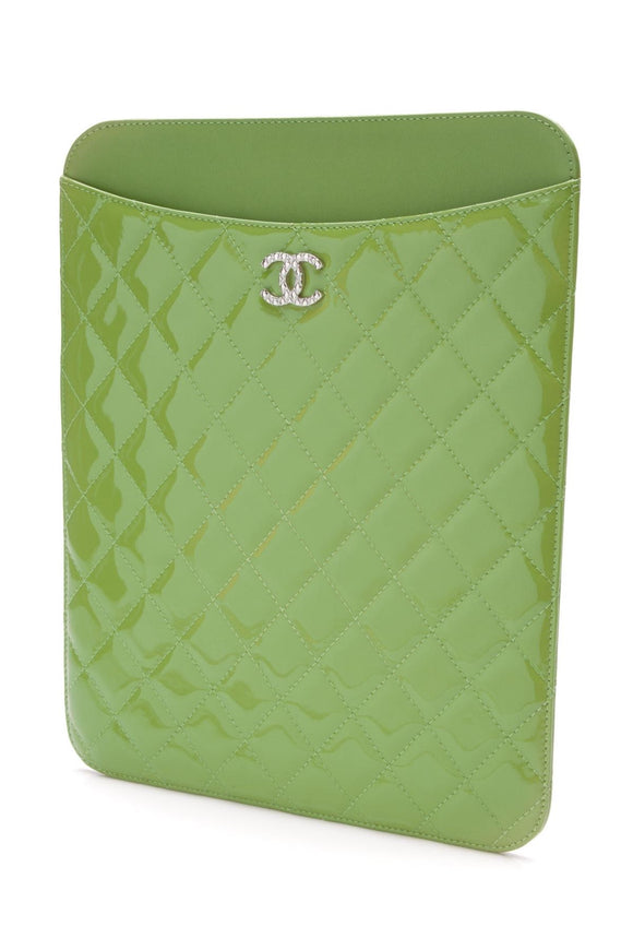 chanel-ipad-case-green-patent-leather