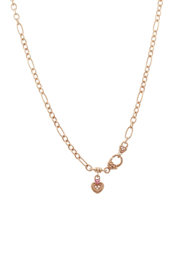 judith-ripka-diamond-pink-tourmaline-heart-necklace-18K-gold