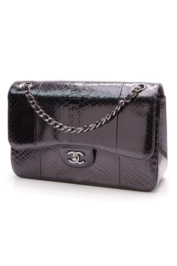 chanel-classic-double-flap-bag-jumbo-navy-python