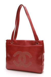 chanel-vintage-cc-tote-bag-red-calfskin