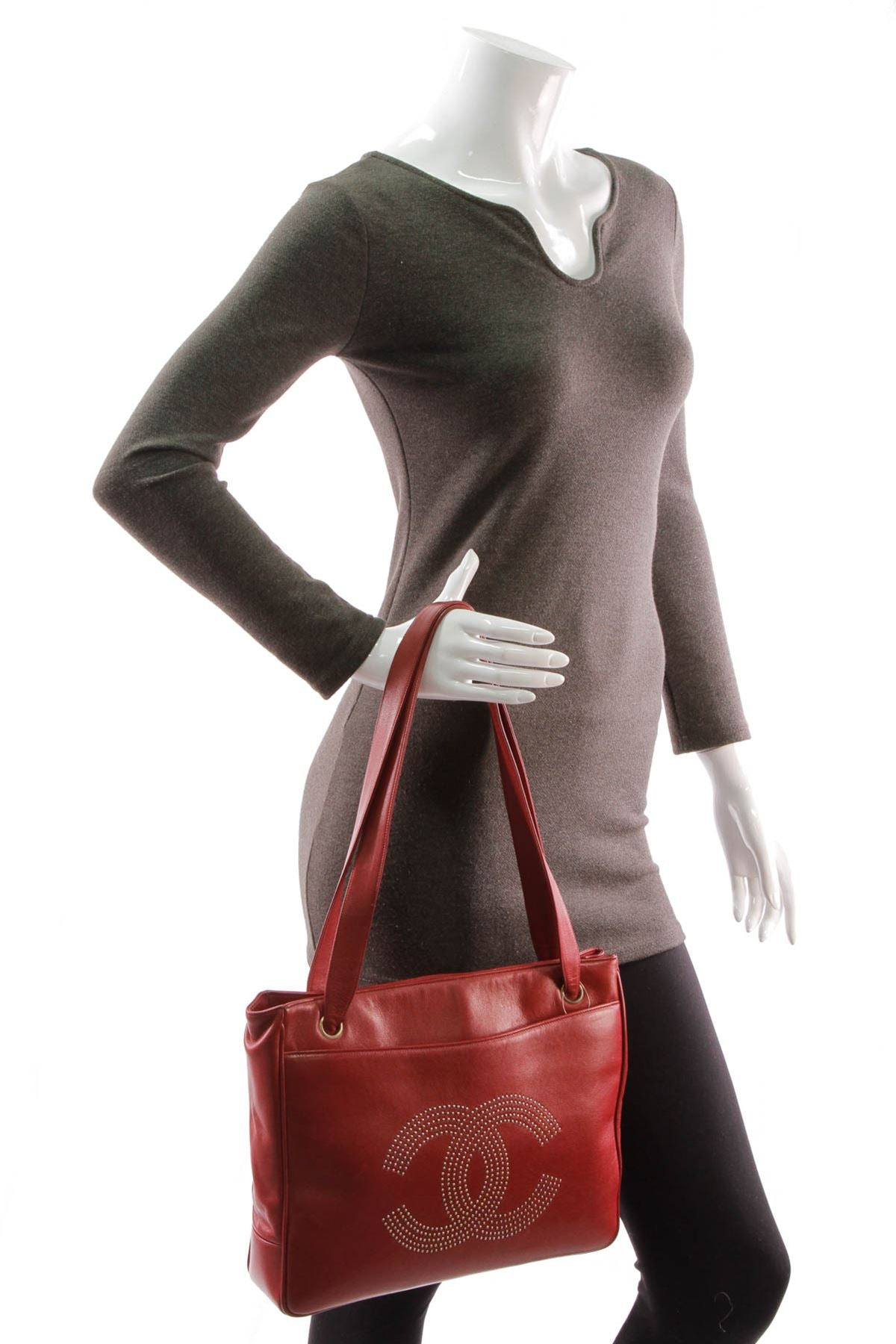 Vintage Cc Tote Bag Red Calfskin Couture Usa Chanel