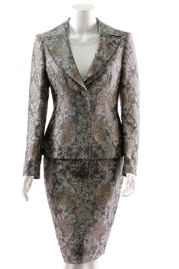 escada-snake-print-skirt-suit-gray