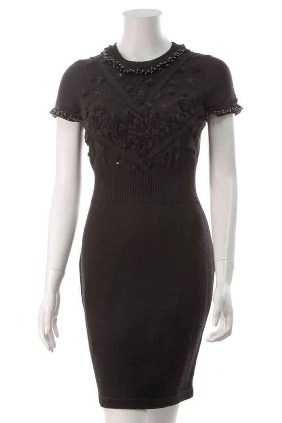 chanel-knit-beaded-dress-black