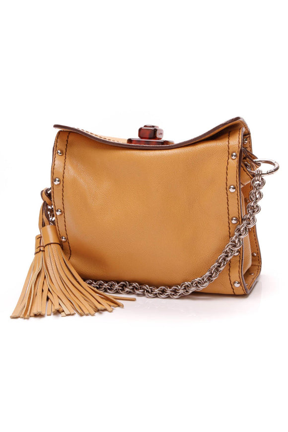 Studded Tassel Crossbody Bag - Mustard