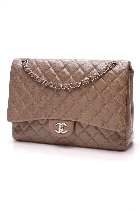 chanel-classic-flap-bag-maxi-brown-caviar