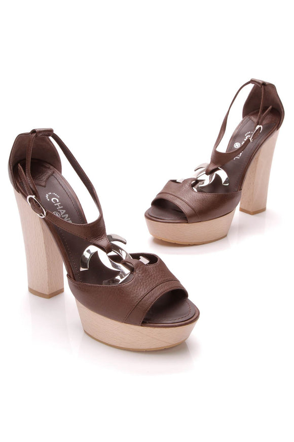 chanel-cc-platform-sandals-dark-brown