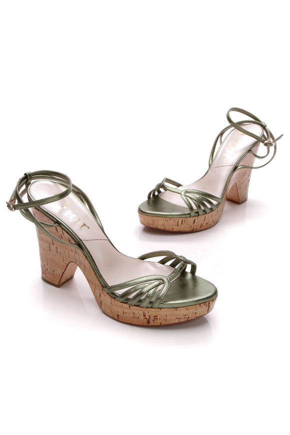 christian-dior-cork-platform-sandals-metallic-green
