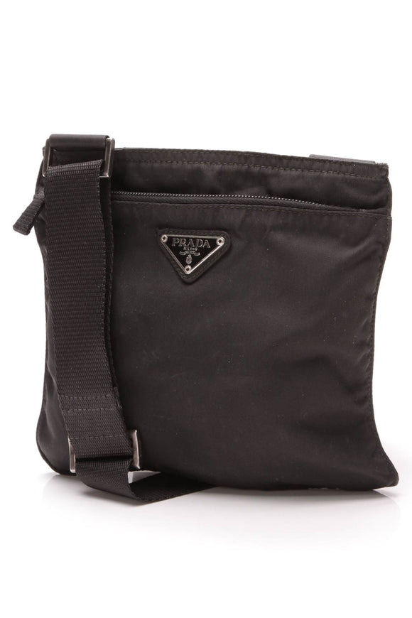 Small Flat Messenger Bag - Black Nylon