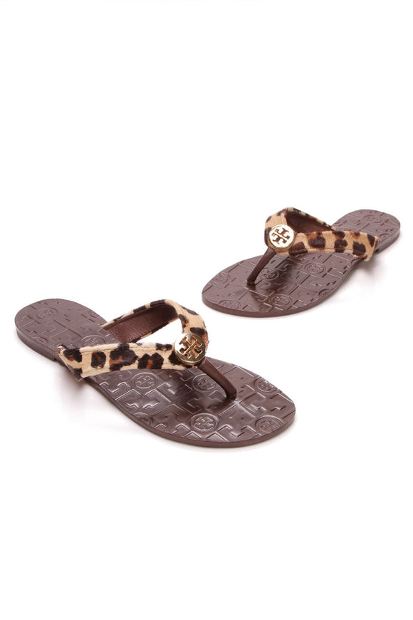 Leopard Thora Thong Sandals - Pony Hair