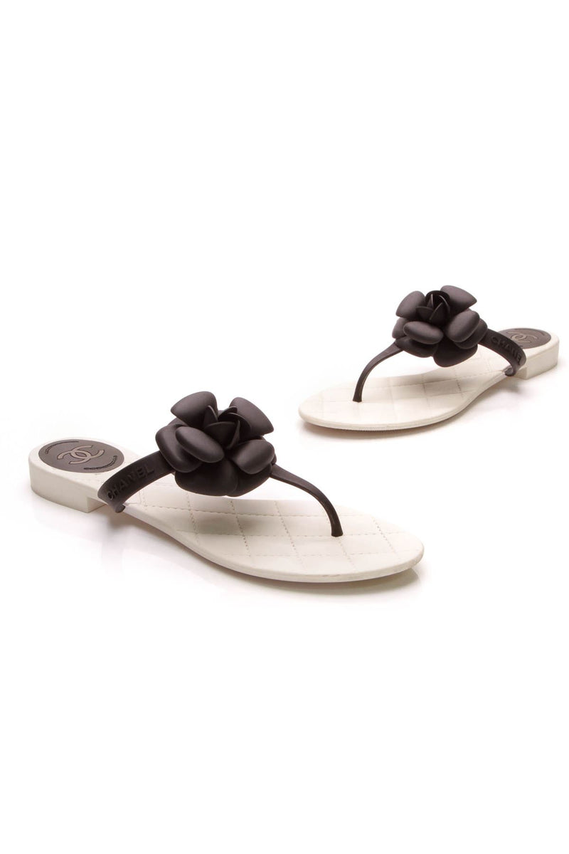 8ff8b48cf4f7bb Camellia Jelly Thong Sandals - Black White – Couture USA