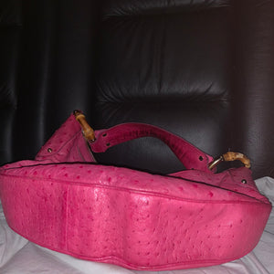 Gucci Ostrich Bamboo Ring Hobo bag