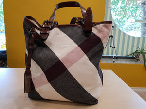 Burberry canvas leather bucket bag