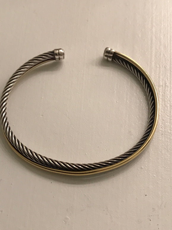 David Yurman Silver/Gold Crossover bracelet