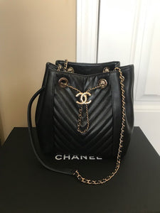 Chanel Chevron Drawstring Bucket bag