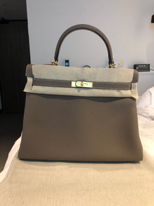 Hermes Kelly 35 Etoupe Bag
