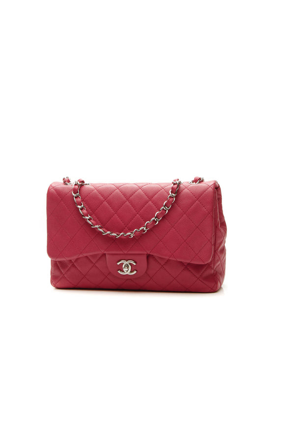 Chanel Classic Jumbo Single Flap Bag - Raspberry