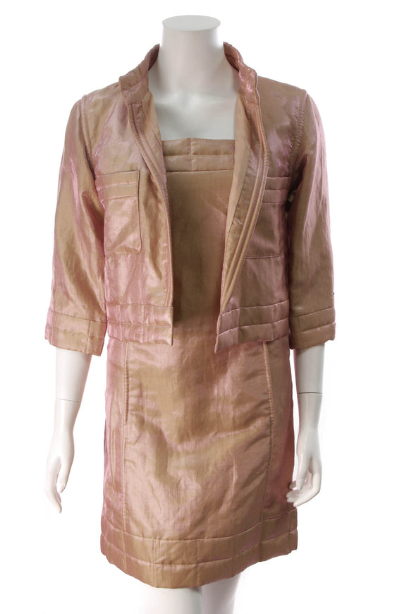 Chanel Vintage Iridescent Jacket & Dress Set Rose Gold Size 34
