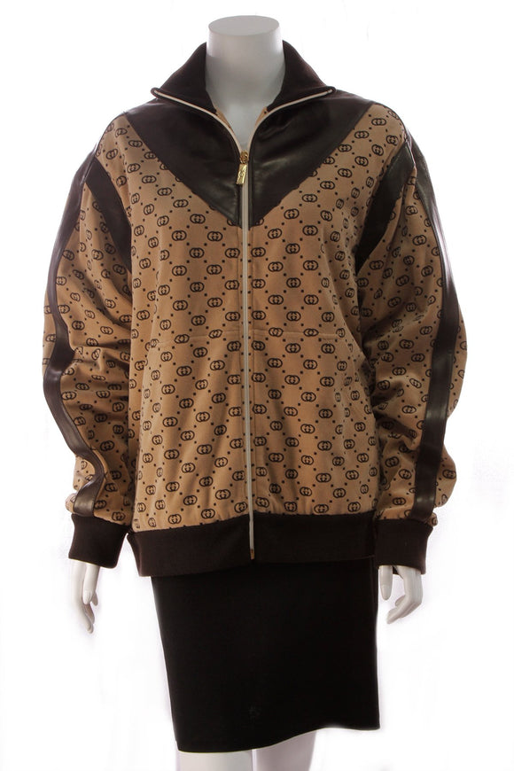Gucci Dapper Dan Velour Track Jacket Tan Brown Size Medium