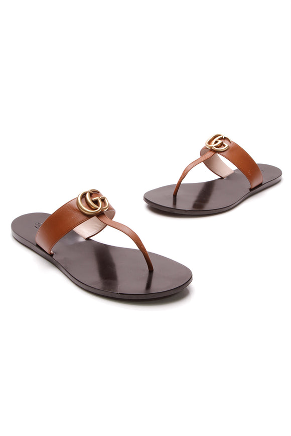 Gucci Marmont Thong Sandals Brown Size 38.5