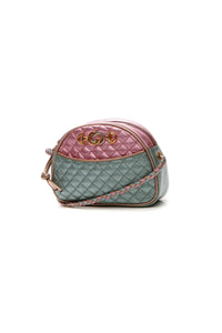 Gucci Trapuntata Mini Crossbody Bag Metallic Pink Teal