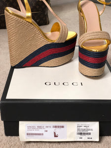Gucci Web Wedge sandals