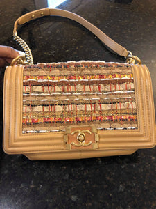 Chanel Tan Tweed Boy bag