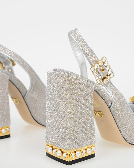 Dolce and Gabanna Silver Glitter pumps