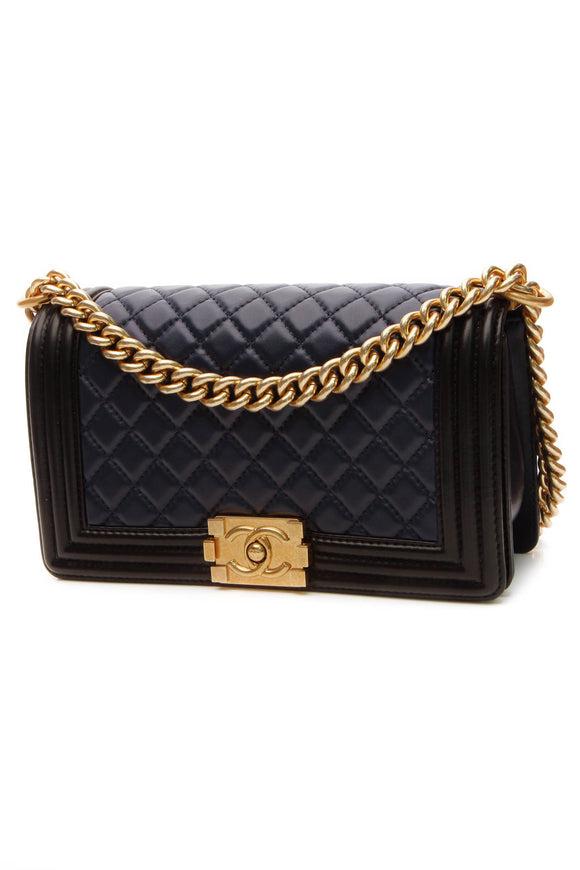 Chanel Medium Boy Bag - Navy/Black