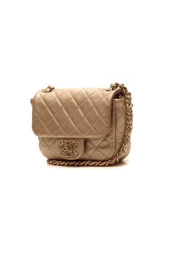 Chanel Crystal Quilted Flap Crossbody Bag - Gold