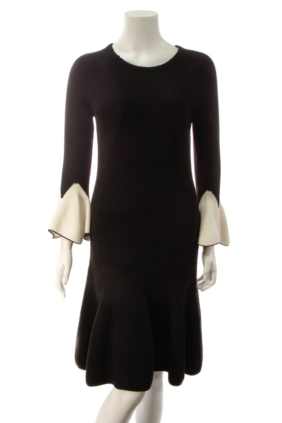 Alexander McQueen Bell Sleeve Knit Dress - Black/White Size Large