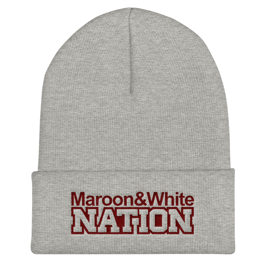 Maroon and White Nation Cuffed Beanie