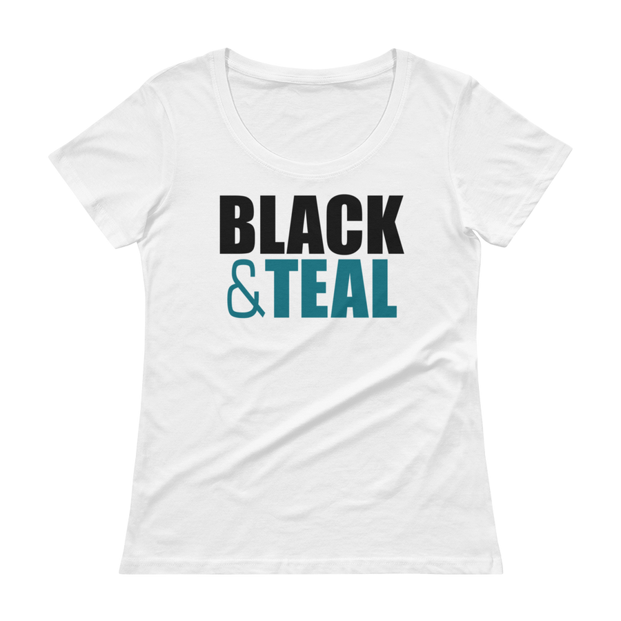 Women's Black and Teal  Scoopneck T-Shirt