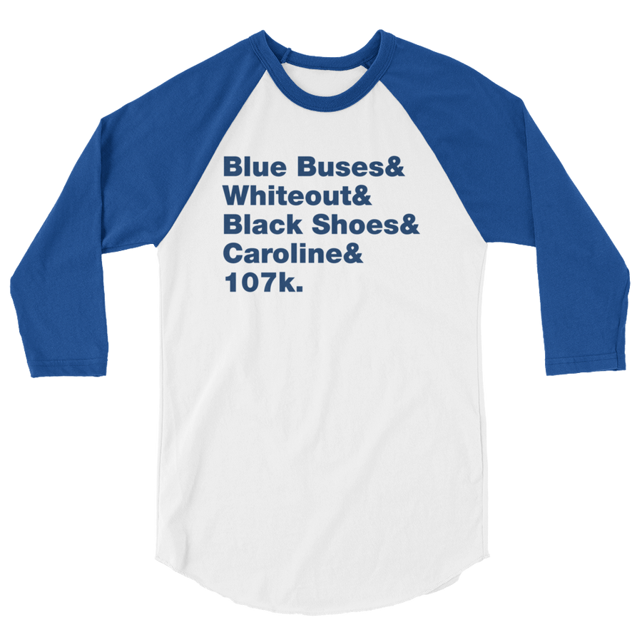 Blue Buses & Whiteout 3/4 sleeve raglan shirt
