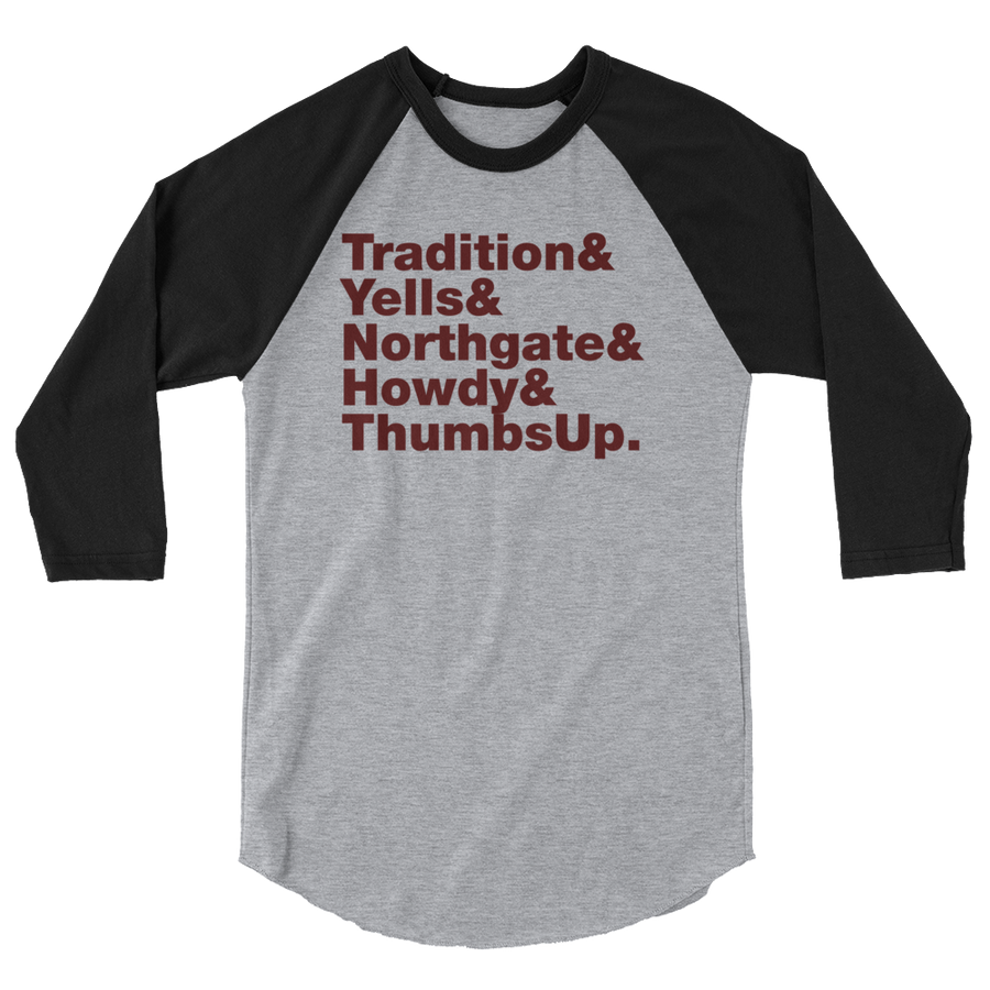 Tradition & Yells 3/4 sleeve raglan shirt