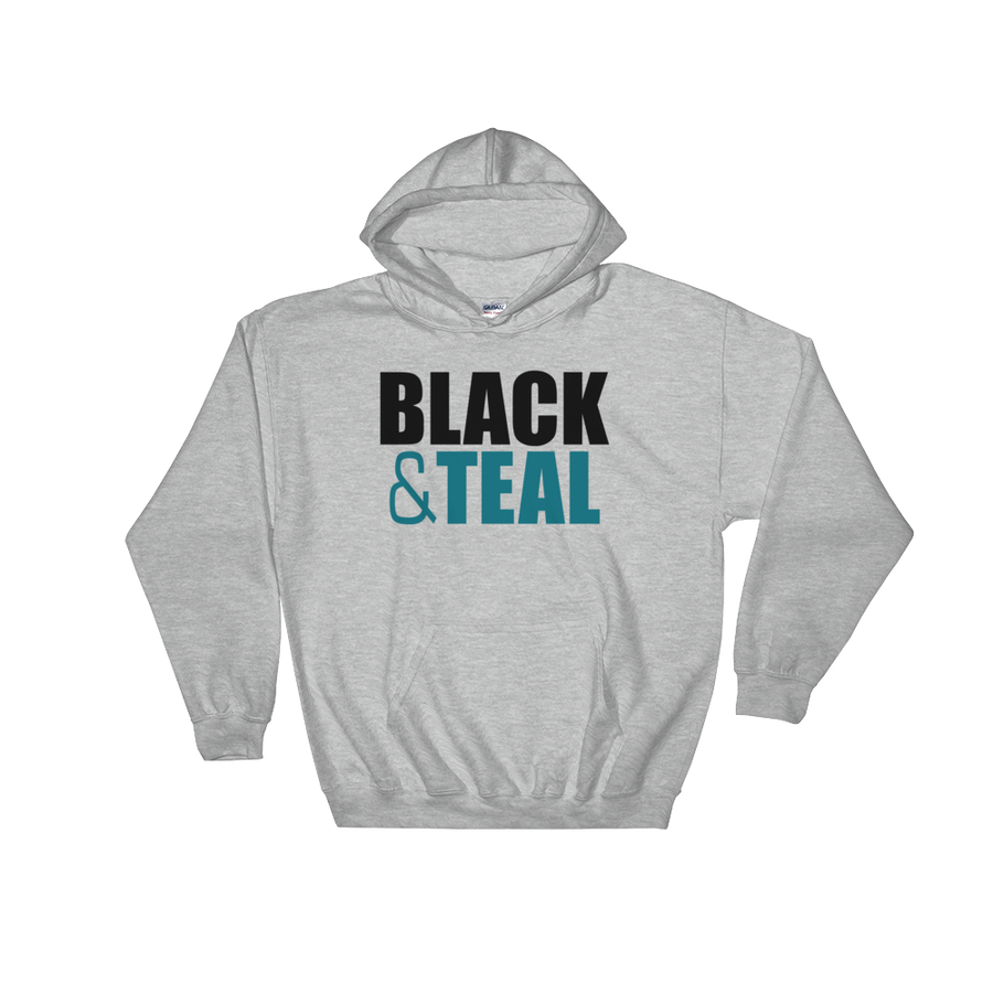 Black and Teal Hooded Sweatshirt