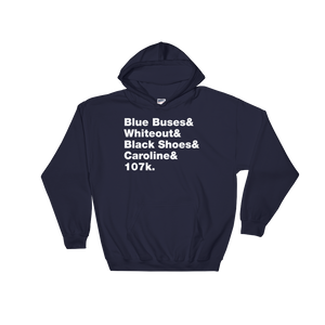 Blue Buses & Whiteout Hooded Sweatshirt