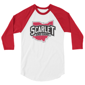 Scarlet and Game 3/4 sleeve raglan shirt