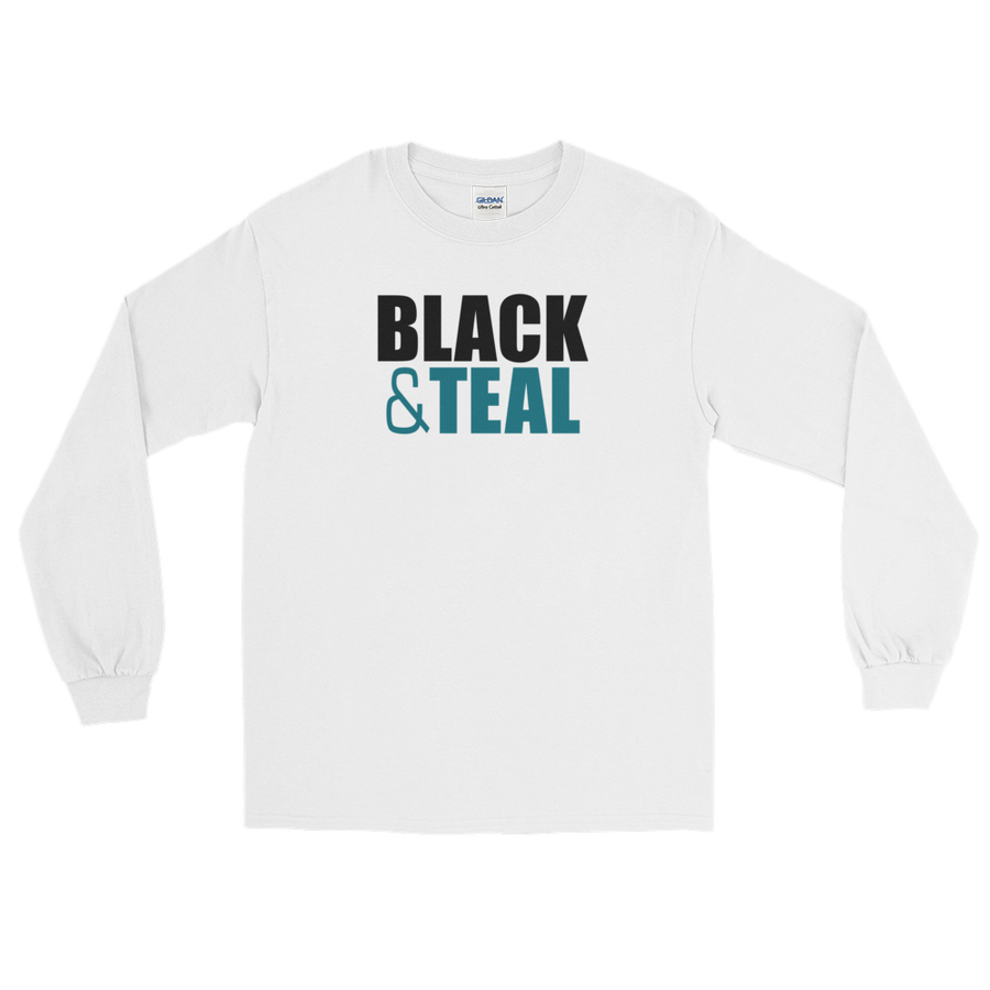 Black and Teal Long Sleeve T-Shirt