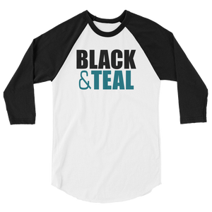 Black and Teal 3/4 sleeve raglan shirt