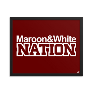 Maroon and White Nation Framed poster