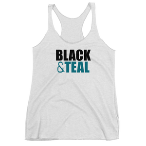 Women's Black and Teal Racerback Tank
