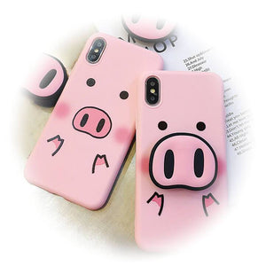 Cute Pig IPhone Case With Popsocket Nose